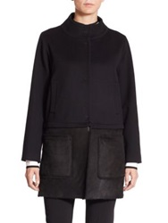 Piazza Sempione Shearling Hem Wool Cashmere Coat Black
