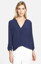 Trouve Women's Trouve Silk Blouse Navy Peacoat