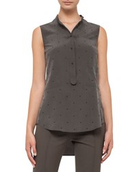 Akris Punto Sleeveless Studded Silk Blouse Olive