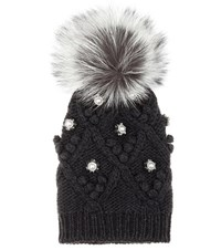 Dolce And Gabbana Embellished Cashmere Fur Knitted Beanie Black