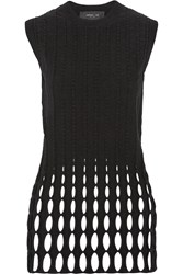Derek Lam Open Knit Merino Wool Blend Tunic Black