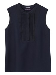 Violeta By Mango Sleeveless Linen Blend Blouse Navy
