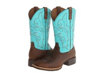 Ariat Hybrid Rancher Square Toe Distressed Brown Solid Turquoise Cowboy Boots Multi