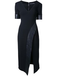 David Koma V Neck Wrap Midi Dress Black