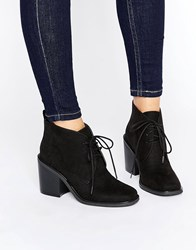 London Rebel Lace Up Mid Heel Boots Black Micro