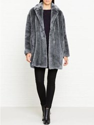 Whistles Faux Fur Cocoon Coat Grey