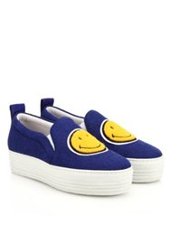 Joshua Sanders Smiley Face Slip On Platform Sneakers Blue