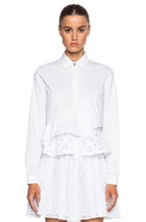 Kenzo Flying Kenzo Openwork Embroidered Tiered Cotton Blouse In White