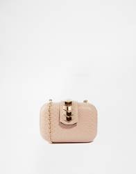 Liquorish Box Clutch Bag Beige