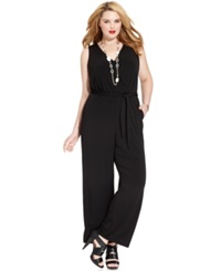 Ny Collection Plus Size Sleeveless Belted Jumpsuit Black