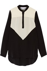 Prabal Gurung Two Tone Silk Organza Top Black