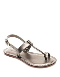 Bernardo Maverick Leather Toe Ring Sandals Pewter