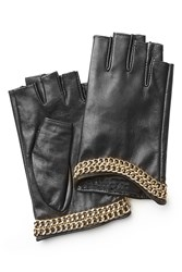 Karl Lagerfeld Embellished Fingerless Leather Gloves Black