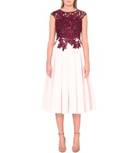 Ted Baker Ilsa Lace Applique Woven Dress Oxblood