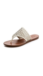 Tory Burch Daisy Perforated Flat Thong Sandals Ivory