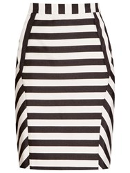Reiss Karis Striped Pencil Skirt Black White