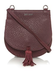 Just Cavalli Bubble Calf Burgundy Saddle Crossbody Bag Burgundy