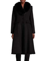 George Simonton Fox Fur Collar Long Coat Black