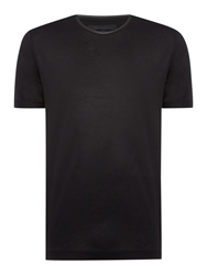 Kenneth Cole Parker Jersey T Shirt With Pu Leather Black