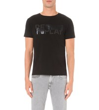 Replay Logo Print Cotton Jersey T Shirt Black
