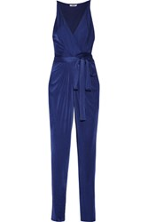 Issa Rubell Wrap Effect Stretch Jersey Jumpsuit Royal Blue