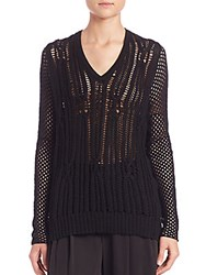 Tess Giberson Open Cable Sweater Black
