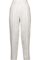 3.1 Phillip Lim Pinstripe Linen Tapered Pants Off White