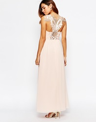 Elise Ryan Cowl Maxi Dress With Lace Applique Back Blush