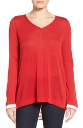 Nydj Women's Cutaway Back Layer Look Sweater Red Ribbon