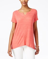 Styleandco. Style And Co. Petite Ribbed High Low T Shirt Only At Macy's Dark Rose