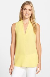 Petite Women's Pleione Layered V Neck Sleeveless Blouse Yellow Gilded
