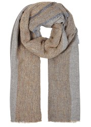 Lily And Lionel Camel Grey Wool Blend Scarf