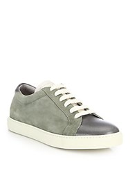 Brunello Cucinelli Suede And Leather Low Top Sneakers Sage