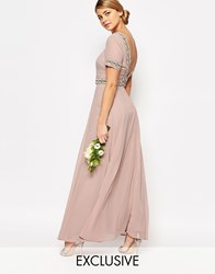 Maya Deep Back Maxi Dress With Full Skirt And Embellishment Pale Mauve