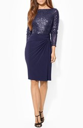 Women's Lauren Ralph Lauren Sequin Mesh And Jersey Sheath Dress Navy