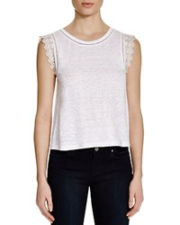 Rebecca Taylor Linen Embellished Tee Snow