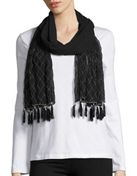 Cejon Beaded Tassel Wrap Scarf Black
