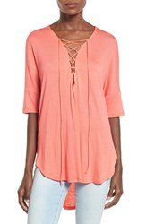 Women's Lush Lace Up Tee Hot Coral
