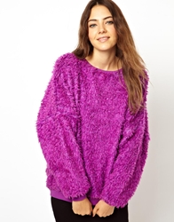 Asos Oversized Jumper In Furry Fabric Pink