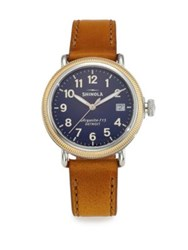Shinola Runwell Coin Edge Two Tone Stainless Steel And Leather Strap Watch