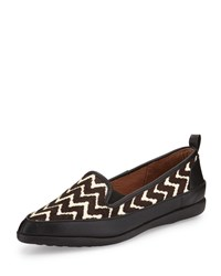 Adrianna Papell Lennox Chevron Calf Hair Loafer Black Brown