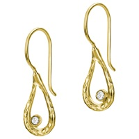 Dower And Hall 18Ct Gold Vermeil Open Teardrop Drop Earrings White Topaz