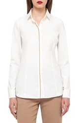 Akris Women's Faux Leather Trim Stretch Cotton Blend Blouse