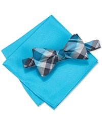 Alfani Men's Hudson Plaid Pre Tied Bow Tie And Pocket Square Set Only At Macy's Aqua