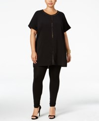 Mblm By Tess Holliday Trendy Plus Size Cutout Trim Tunic Black