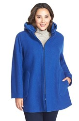 Plus Size Women's Kristen Blake Hooded Boiled Wool Blend Swing Coat