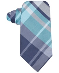 Ryan Seacrest Distinction Backlot Plaid Slim Tie Aqua