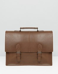 Asos Satchel In Brown Leather With Buckle Straps Brown