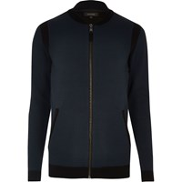 River Island Mens Navy Blue Cardigan Bomber Jacket