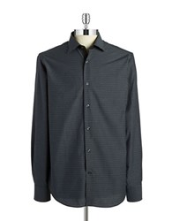 Report Collection Checkered Cotton Sportshirt Black